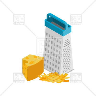 400x400 Grated Cheese And Grater Isolated Royalty Free Vector Clip Art