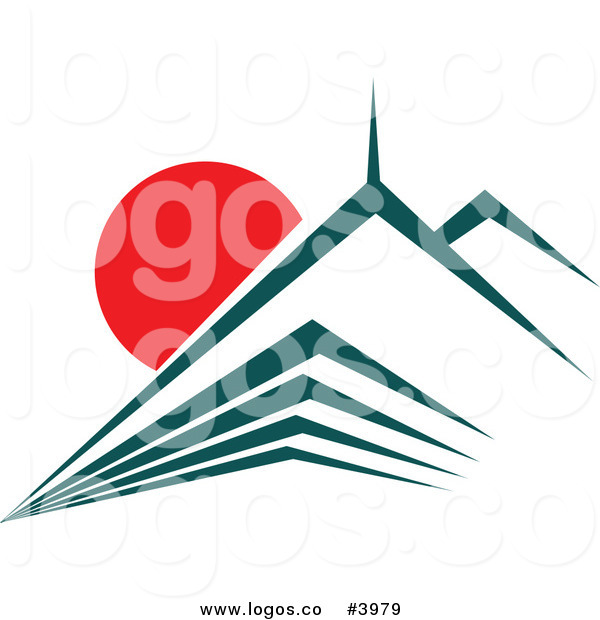600x620 Royalty Free Skyscraper With Red Rising Sun Logo By Vector