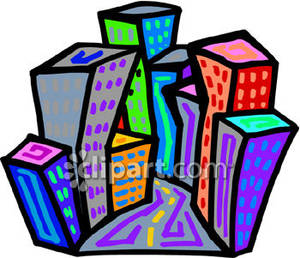 300x258 A Cityscape With Skyscrapers Royalty Free Clipart Picture