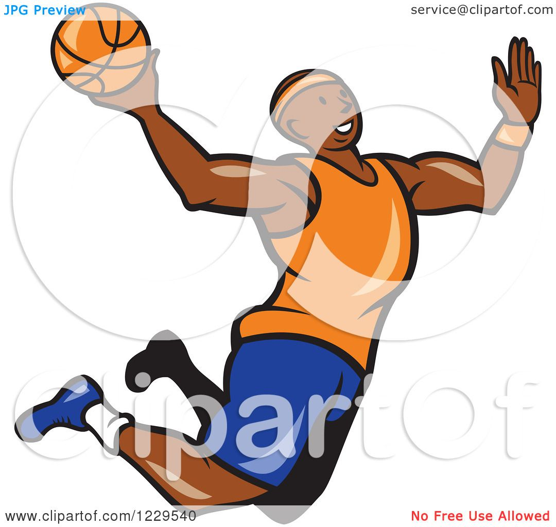 1080x1024 Clipart Of A Black Male Basketball Player Jumping For A Slam Dunk
