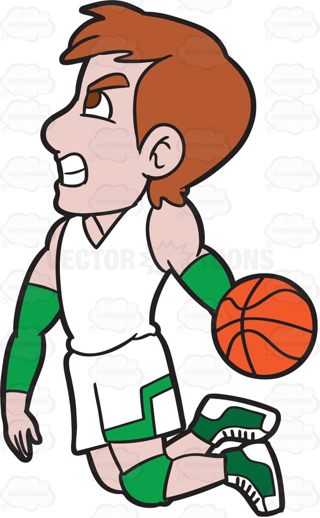 632x1024 A Male Basketball Player About To Do A Slam Dunk Cartoon Clipart