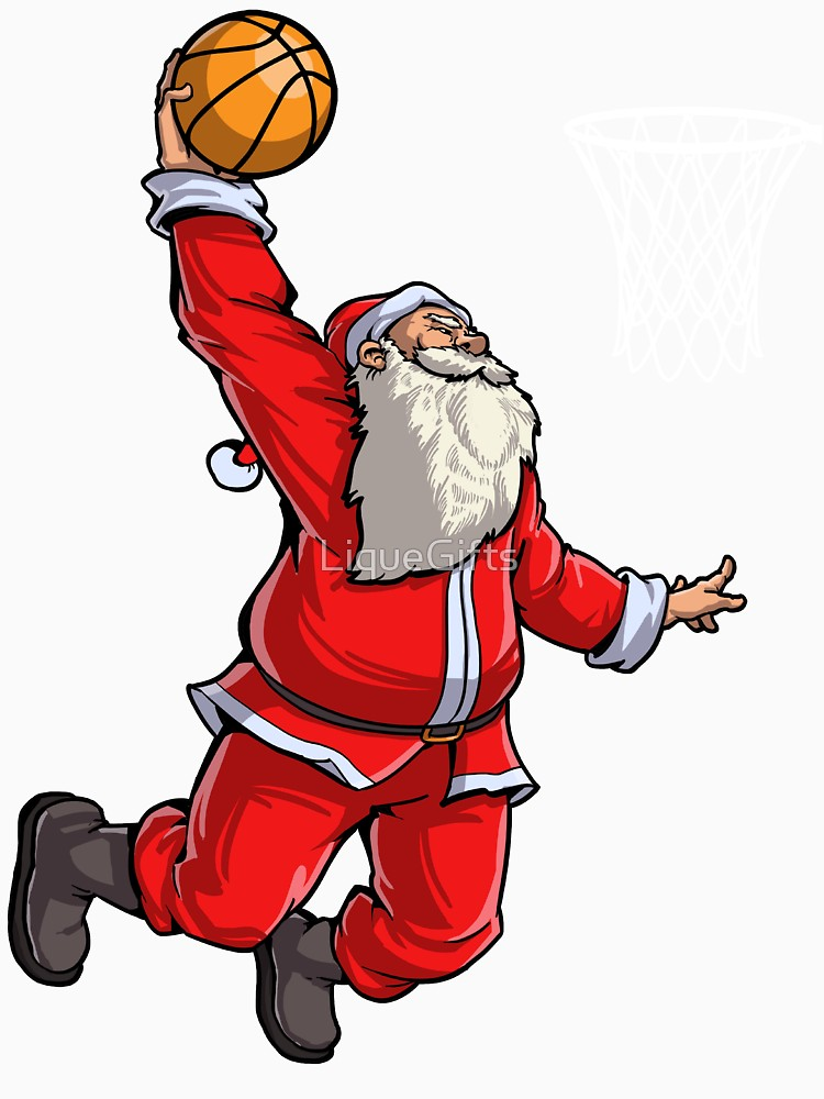 750x1000 Basketball Santa Slam Dunk T Shirt Christmas Xmas Ball Sport Long