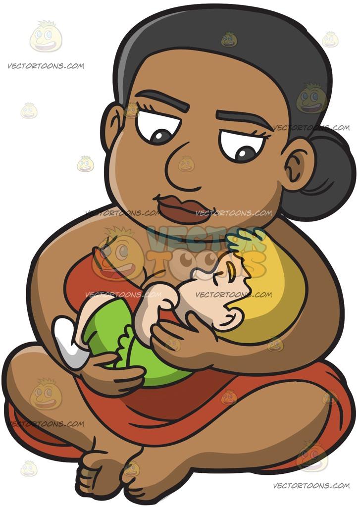 723x1024 A Female Polynesian Slave Carrying A Caucasian Toddler Cartoon