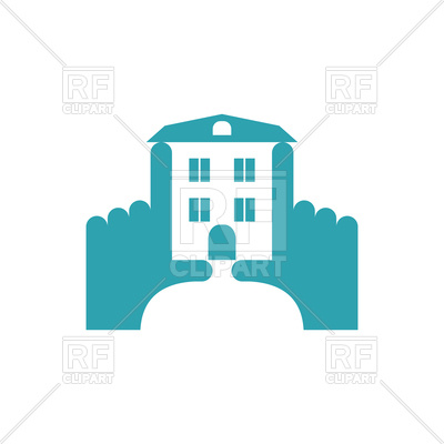 400x400 Hands And Building Construction Logo Royalty Free Vector Clip Art