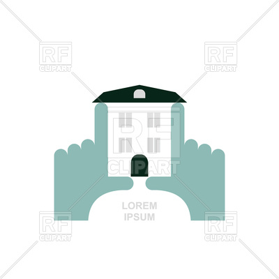 400x400 House In Hands Logo Royalty Free Vector Clip Art Image