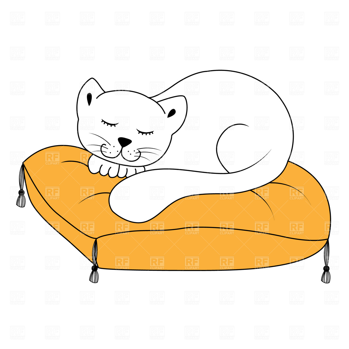 1200x1200 Cat Sleeping On Pillow Royalty Free Vector Clip Art Image