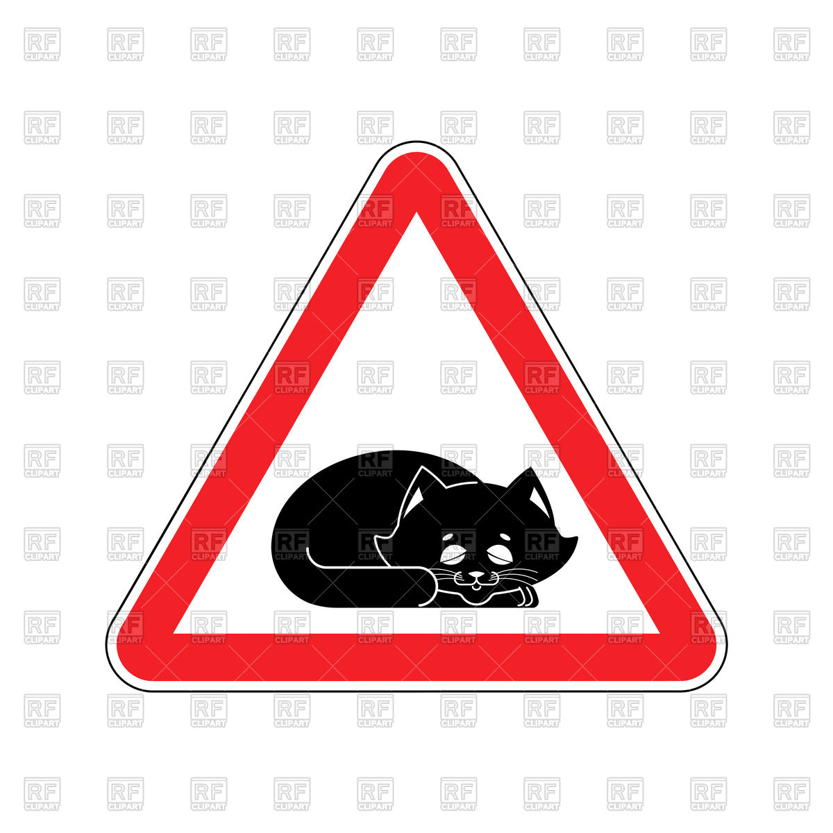 1200x1200 Attention Sleeping Cat Red Triangle Road Sign Royalty Free Vector
