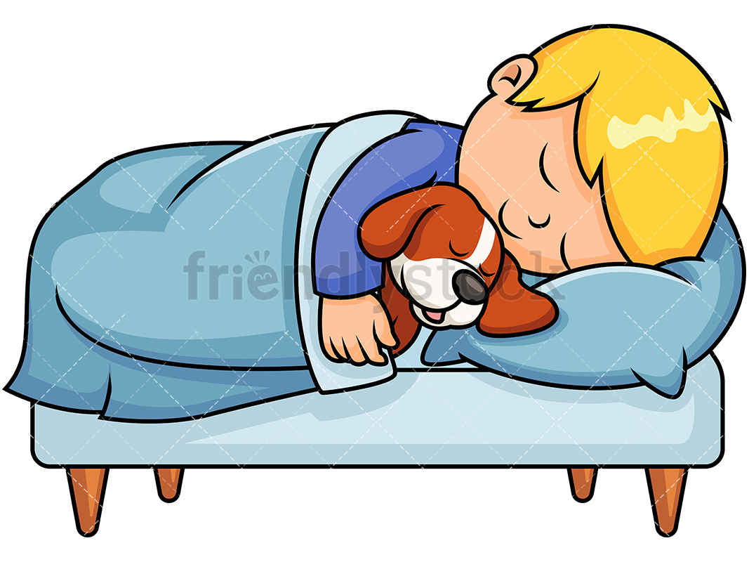1067x800 Kid Sleeping Together With Dog Cartoon Vector Clipart