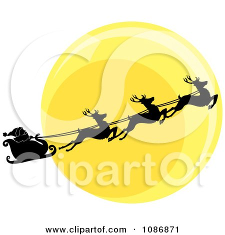 450x470 Clipart Silhouetted Santa Sleigh And Flying Reindeer Against