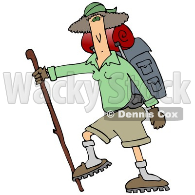400x400 Slender And Fit Woman Using A Hiking Stick And Carrying Camping