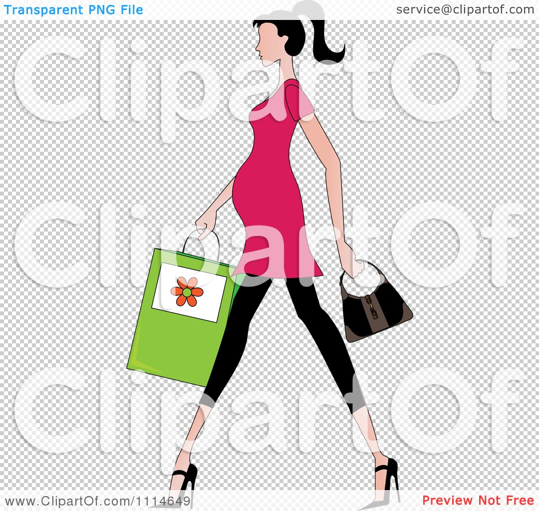 1080x1024 Clipart Slender Dark Haired Pregnant Woman Walking With A Shopping