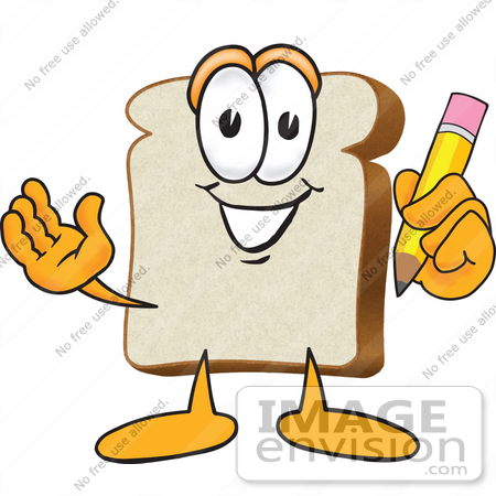 450x450 Clip Art Graphic Of A White Bread Slice Mascot Character Writing