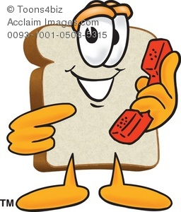 256x300 Clipart Cartoon Slice Of Bread Holding A Telephone