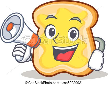 450x355 With Megaphone Slice Bread Cartoon Character Vector Art Illustration.
