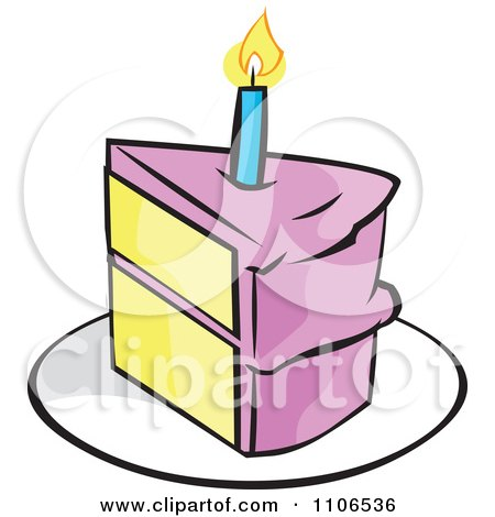 450x470 Clipart Pink Birthday Cake With A Candle And Missing Piece