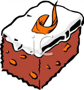 280x300 A Slice Of Cake And Vanilla Icing Clip Art Image