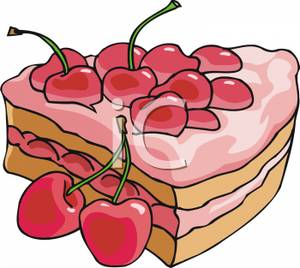 300x268 A Slice Of Cherry Cake Clip Art Image