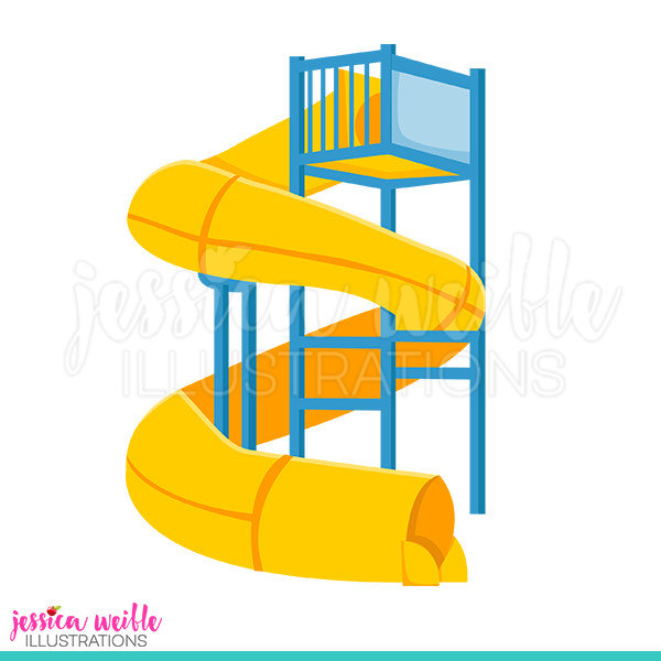 600x600 Super Water Slide Cute Digital Clipart Water Park Clip Art