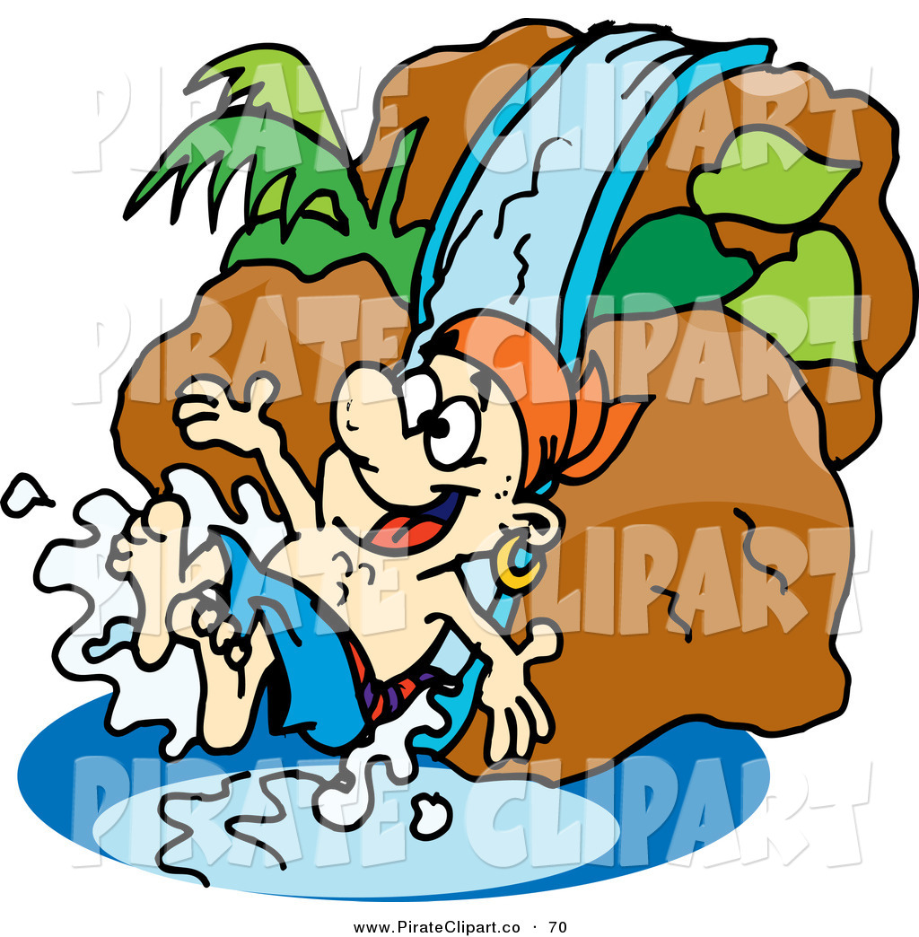 1024x1044 Vector Clip Art Of A Happy Pirate Guy Going Down A Water Slide By