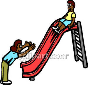 300x291 A Mother And Her Son Play On A Slide Royalty Free Clipart Picture