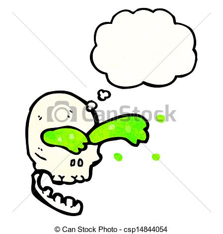 449x470 Gross Slime Squirting Skull Cartoon Clipart Vector