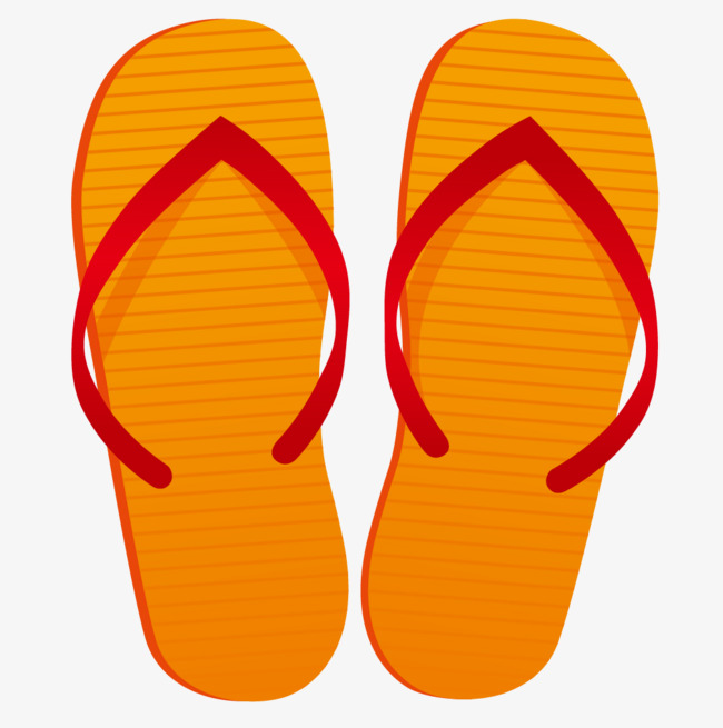 650x655 Hand Painted Orange Slippers, Hand, Flip Flops, Simple Png Image