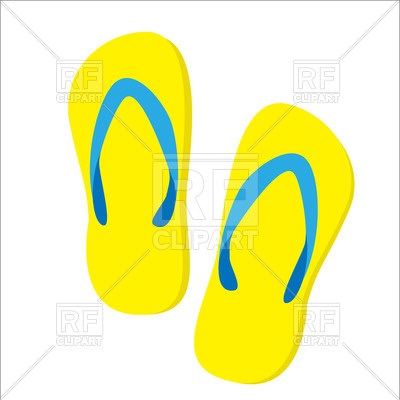 400x400 Yellow Beach Slippers Isolated Vector Image Vector Artwork