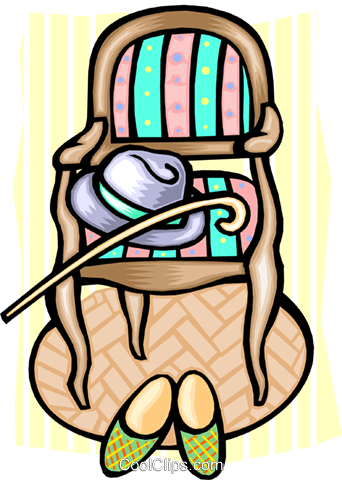 342x480 Chair, Hat, Cane And Slippers Royalty Free Vector Clip Art