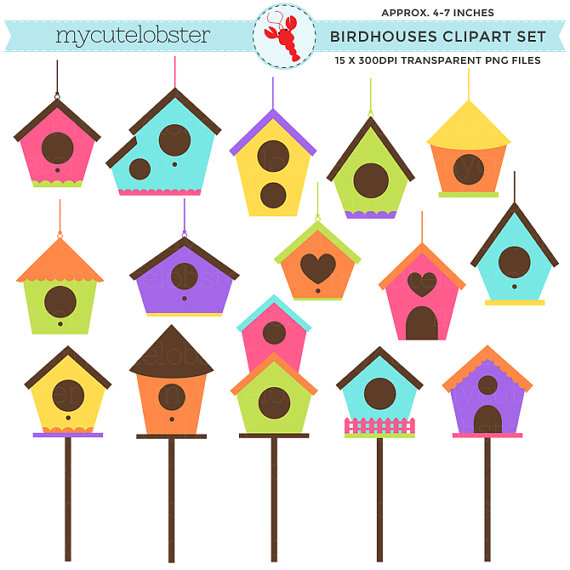 570x570 Birdhouses Clipart Set