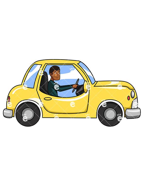 585x755 A Black Man Cautiously Driving A Small Car