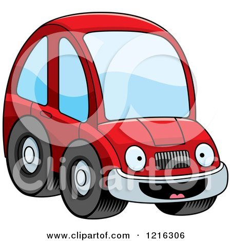 450x470 Clipart Of A Black And White Goofy Compact Car Character