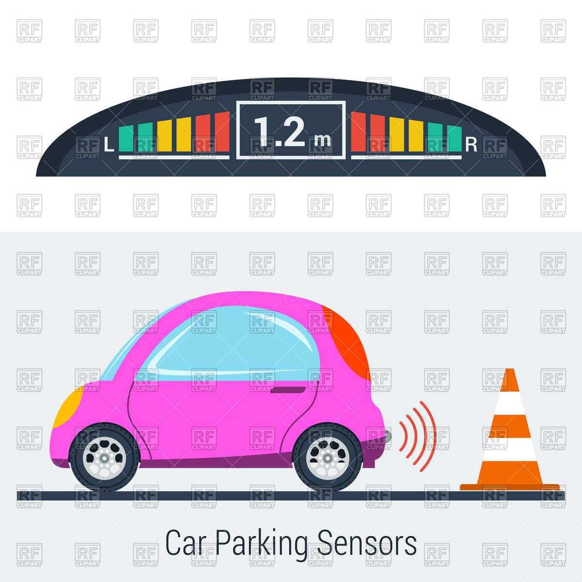 1200x1200 Parktronic Concept. Small Car Parking Backwards With Bumper Sensor
