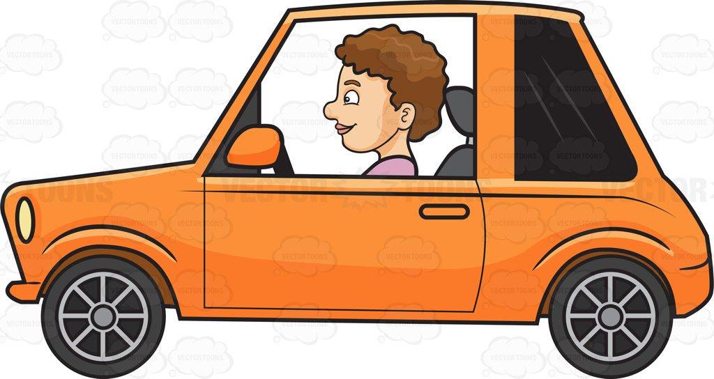 1024x544 A Woman Driving A Small Car Cartoon Clipart Vector Toons