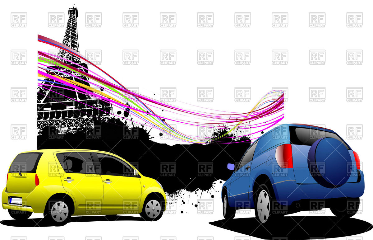 1200x771 Rear View Of Small Subcompact Cars Near Eiffel Tower On Splatter