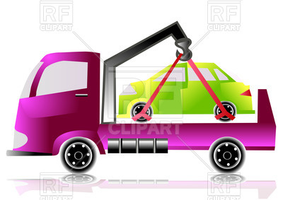 400x283 Tow Truck With Small Car Royalty Free Vector Clip Art Image