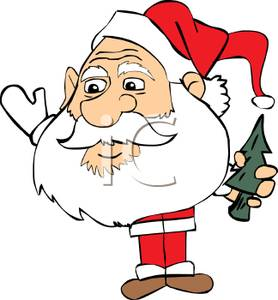 278x300 A Santa With A Small Body And Large Head Holding A Christmas Tree