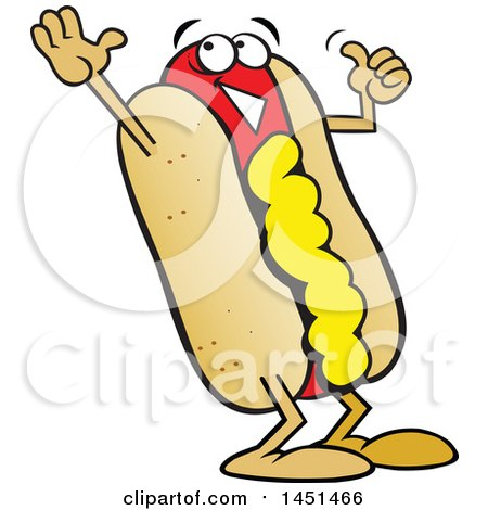 450x470 Clipart Graphic Of A Cartoon Happy Hot Dog Mascot With Mustard