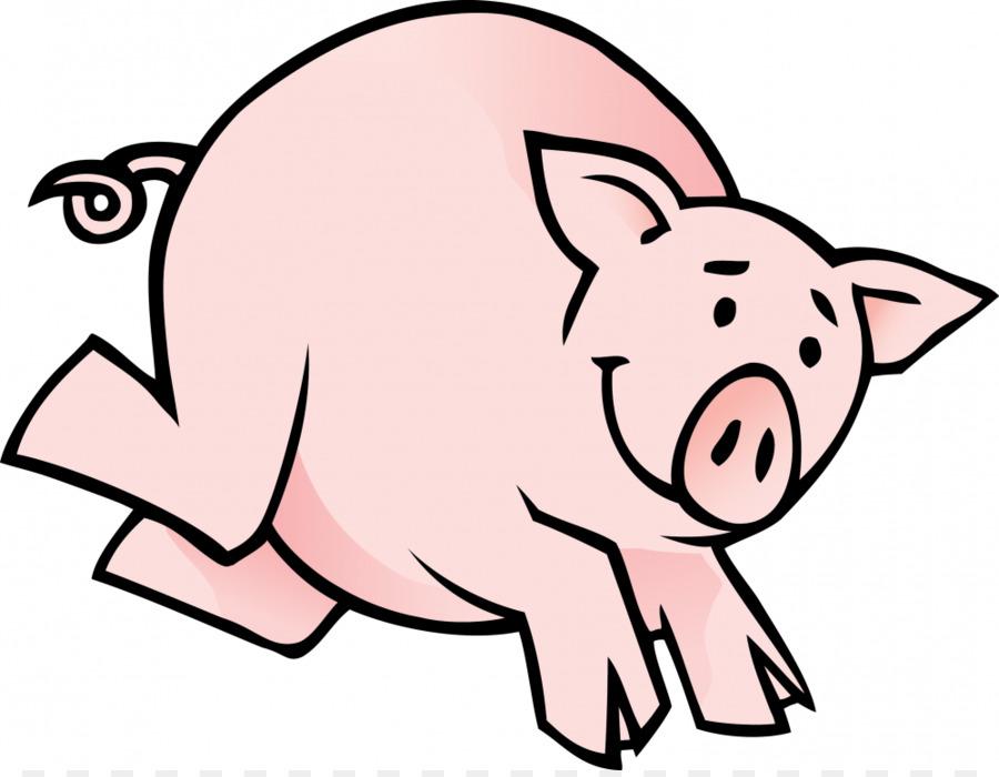900x700 Domestic Pig Small Black Pig Cartoon Clip Art