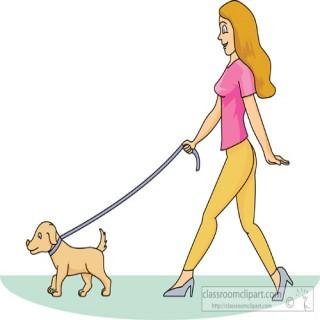 320x320 Woman Walking Dog Clipart