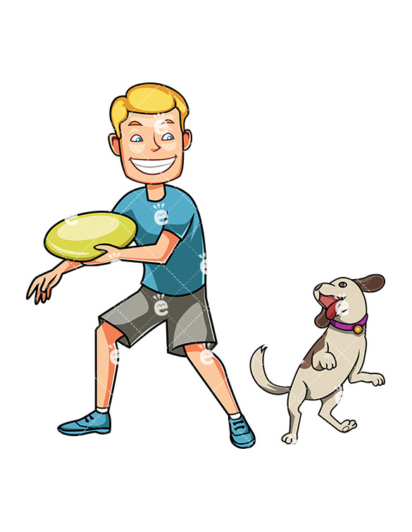 585x755 A Man Playing Frisbee With His Small Dog