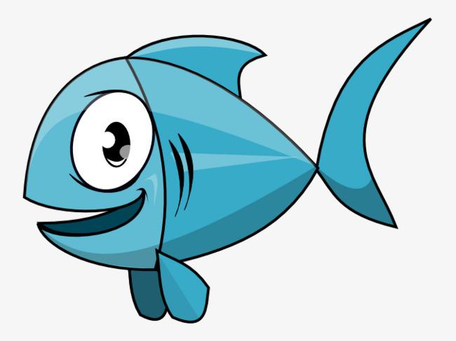 650x487 Blue Cartoon Fish, Small Fish, Leave The Material, Cartoon Png