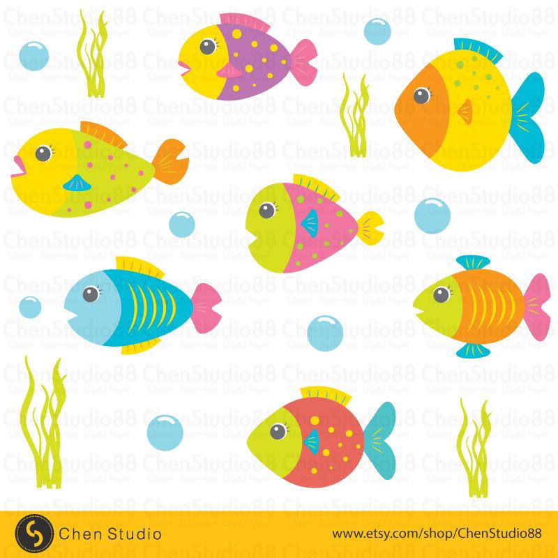 800x800 Cute Fish Vector Digital Clipart Instant Download Eps
