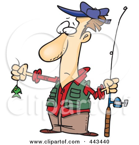 450x470 Disappointed Fisherman With A Very Small Fish Clipart Illustration
