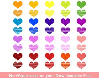340x270 48 Glitter Hearts Clip Art Valentine Digital Clipart Scalloped