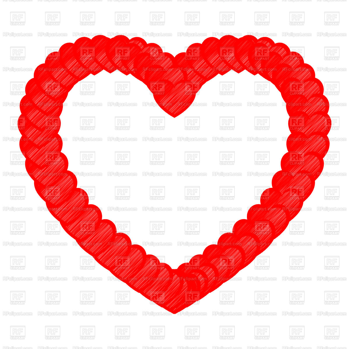 1200x1200 Heart Red Color With Small Hearts Art Style Royalty Free Vector