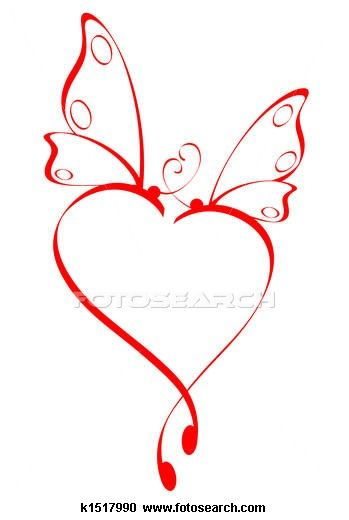 349x520 Butterfly Heart Stock Illustrations Tattoo, Stenciling And Tatoo