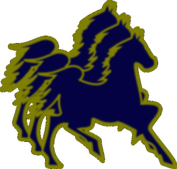 600x573 Triple Horse Blue And Tan Clip Art