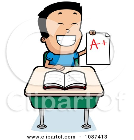 450x470 Clipart Smart School Boy Sitting At A Desk With An A Plus Report