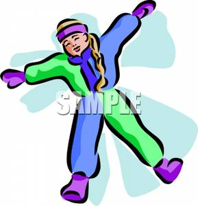 289x300 A Colorful Cartoon Of A Girl Making A Snow Angel In The Snow