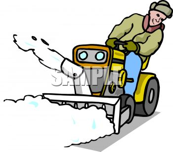 350x308 Royalty Free Clip Art Image Man On A Riding Snow Blower